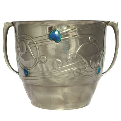 Liberty & Co Arts & Crafte Tudric pewter and enamel planter by Archibald Knox (gm130)
