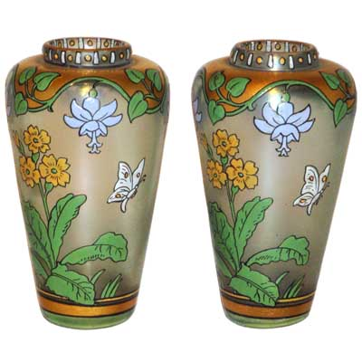 Pair of Art Nouveau enamelled glass vases by Max Rade for Fritz Heckert (gm318)