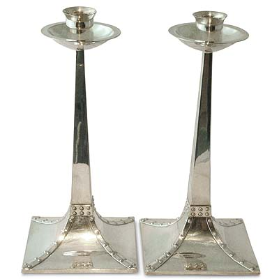 Pair of Arts & Crafts EPNS candlesticks by James Dixon (gm466)