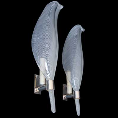 Pair of Venini wall lights by Tyra Lundgren (L173)